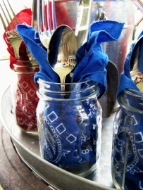 Red and Blue bandanas in mason jars form Goodwill.